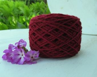 Dark Bordo Burgundy Wool yarn for knitting 1 ball - 50 g