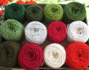 SALE 30% Christmas colors Box of yarn Wool yarn 600 g For knitting N 8/2 Green Red White Gray