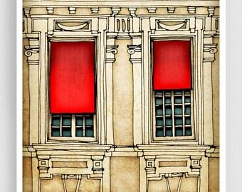 Paris centre - Paris illustration Fine art illustration Art Poster Paris art Paris decor Travel poster Wall art Cityscape Facade Red Beage