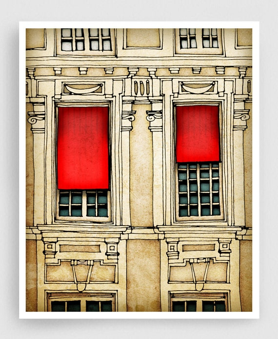 Paris centre - Paris illustration Fine art illustration Art Poster Paris art Paris decor Travel poster Wall art Cityscape Facade Red Beage