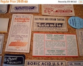HUGE SALE 2 Dozen Antique Pharmacy Apothecary Drug Poison Labels