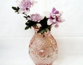 Vintage pink pressed glass vase Mid century home decor