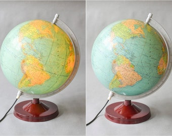 Vintage German world globe light lamp 60s West German geography Mid-Century modern home decor