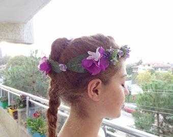 Purple Hydrangea Flower Crown, Wedding Hair Wreath, Bridal Flower Crown, Hair Accessories, Bridesmaid Gift, Woodland