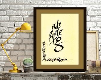 Fine Art, Abstract Calligraphy Art, Wall Decor, Contemporary Art, Modern Art, Ink and Pens