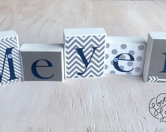 Boy's Name Blocks - Baby Boy Blocks, Nursery Room Decor - Wood Letter Blocks - Baby Boy Gift - Baby Shower Decor - Navy and Gray Nursery