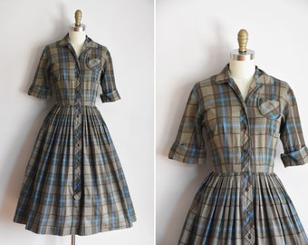 50s Woods & Water dress/ vintage 1950s plaid shirtdress/ vintage Nelly Don cotton daydress