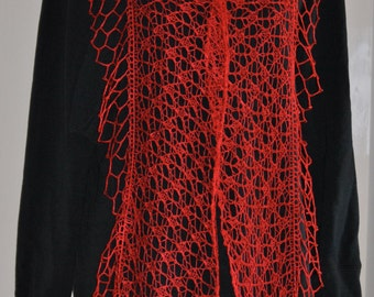 Hand Knit/Crochet Lace Shawl, Hand Knit Delicate Lace Shawl with beads
