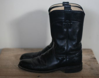 vintage black leather justin roper boots mens size 8B