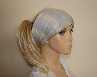 grey striped head scarf, jersey turban headband, hippie hair wrap, chemo woman yoga headband, gypsy scarf, woman fashion neck bow