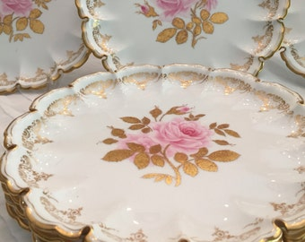 Antique Plates/7 Dinner Plates/Copeland Spode/Botanical/Hand Painted Pink Roses/Fluted Edge/22 KtGold Accents/Cabinet Display/Wedding Gift
