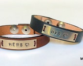 Valentine Personalized Leather Metal Bracelet For Couples