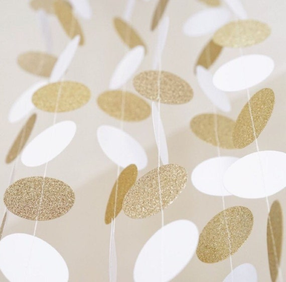 White and gold circle dot garland from pomsetc on etsy studio for Gold dot garland