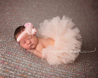 Peach tutu set with cluster headband, peach baby tutu, baby tutu set, newborn tutu, newborn tutu set, photo prop