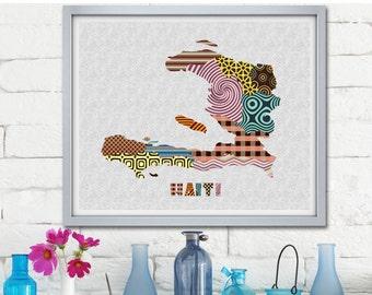 Haiti Map Print, Haitian Art Print, Haitian Poster, Haitian Painting, Map Wall Decor, Travel Art