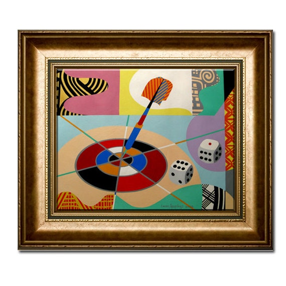 "ORIGINAL Acrylic Sports Painting on Canvas THE GAME - Geometric Pop Art on Canvas -  20"" X 24"""