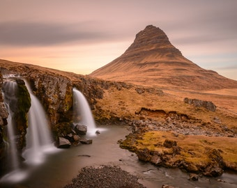 Iceland Landscape Photography Print - Kirkjufell Mountain Sunset - MetalPrint Option - 11x14 16x20 20x30 24x36 30x40