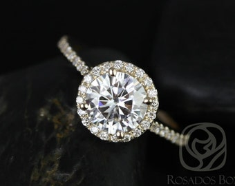 Rosados Box Kubian 7mm 14kt Yellow Gold Round F1- Moissanite and Diamonds Halo Engagement Ring