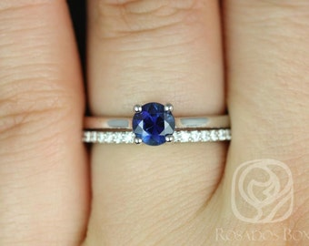 Skinny Flora 0.79cts & Marcelle 14kt White Gold Round Blue Sapphire Classic Diamonds Wedding Set