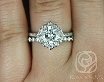 Rosados Box Rori 7mm & Pte Naomi 14kt White Gold Cushion F1- Moissanite and Diamond Halo WITHOUT Milgrain Wedding Set