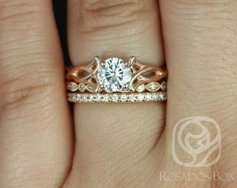 Rosados Box Orla 6mm, Ult Pt Gwen, & Pernella 14kt Rose Gold Round F1- Moissanite and Diamonds Celtic Knot TRIO Wedding Set