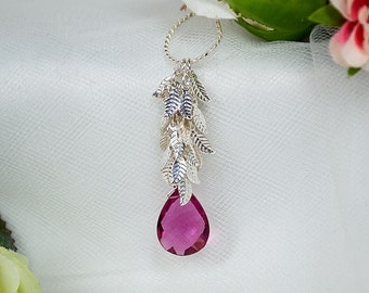 Rubellite pink tourmaline necklace Shimmering silver leaf necklace Teardrop dangle necklace Fuchsia briolette pendant Nature garden jewelry