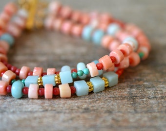 Layered coral bracelet Aqua Amazonite bracelet Semi precious gem stone cuff bracelet Modern boho bracelet Heishi bead multi strand bracelet