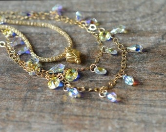 Delicate crystal dangle necklace Cascading crystal drop necklace Multistrand gold chain necklace Sophisticated multi layer necklace