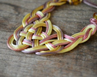 Celtic knot bib necklace Ombre yellow tan pink Guinevere knot necklace Soft lightweight hand knotted satin cord necklace Textile jewelry