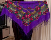 Ukrainian Shawl Scarf. Floral scarf. Head scarf. Purple Shawl with fringe. Ukrainian folk holiday platok. Traditional Floral ornaments