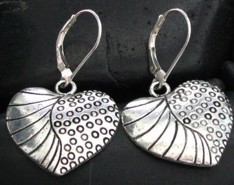 Nice Larger Rustic Pewter Engraved Heart Earrings on Lever Back Ear Wires - Burnished Silvertone Finish - Boho Chic -
