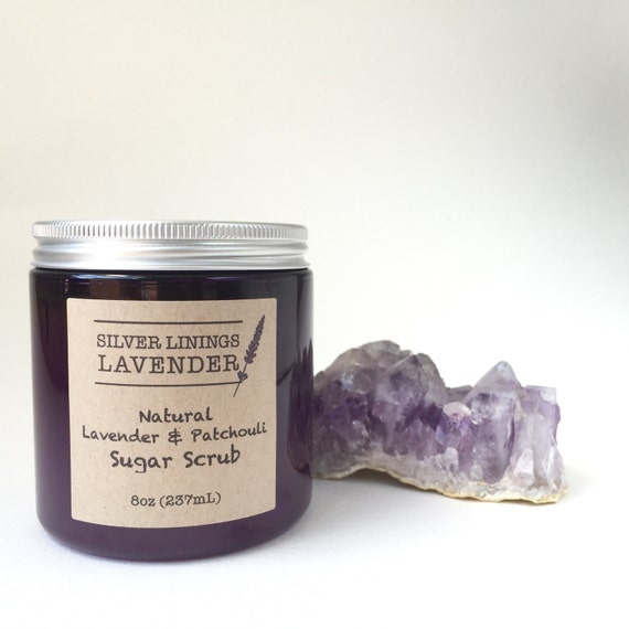 Aromatherapy Lavender Patchouli Sugar Scrub / All Natural Organic Sugar Scrub / Natural Exfoliating Body Scrub with Hydrating Oils