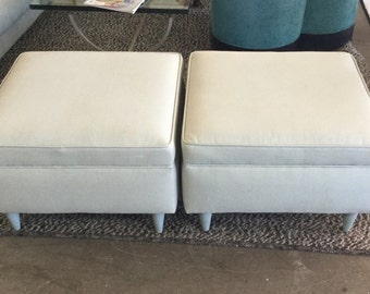 Mid Century Blue Grey Ottomans, Pr
