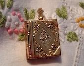 Antique Locket HAYWARD Gold Filled Book Double Pictures Flowers Art Nouveau Deco Etching Pat Pending Vintage Jewelry Pendant