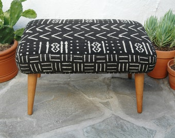 African Mudcloth Footstool Tapered Legs Black & White African Mudcloth Fabric Mid Century Footstool Mud cloth Foot Stool Ottoman Upcycled