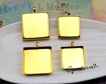 10pcs Gold 20mm / 25mm Brass Square Cameo Cabochon Base Setting Pendants Charm Pendant, Blank Bezel Setting
