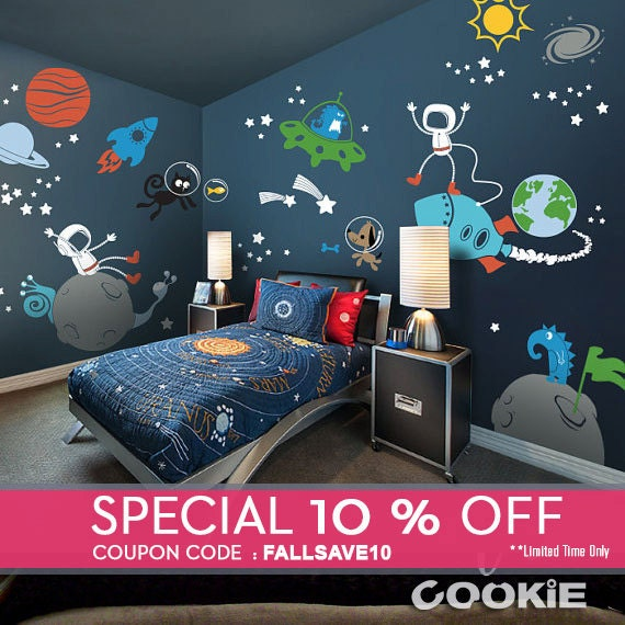 Planets Astronaut Alien Galaxy Wall Decal Walls Sticker By