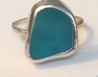 Bezel Set Sea Glass Ring