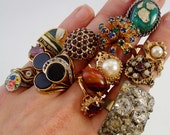 FREE Shipping Vintage 14 Junk Jewelry Costume Rings Big Bold Chunky Klunky Trashy 50s 60s and 70s