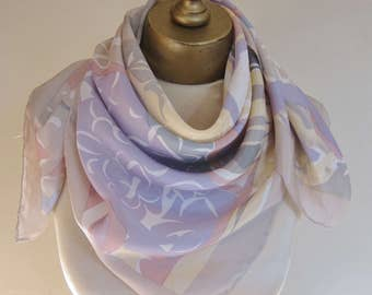 Pastel silk scarf, square silk scarf, vintage scarf, 80s fashion, romantic silk scarves, hand rolled, ladies headscarf, pastel scarves,