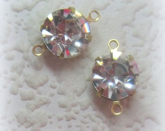 Crystal Clear Round Rhinestone 16MM 2 Ring Brass Setting Connector