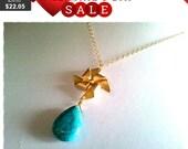 Pinwheel Gold charm Necklace, charm, Pinwheel pendant, lariat, wedding jewelry, necklace
