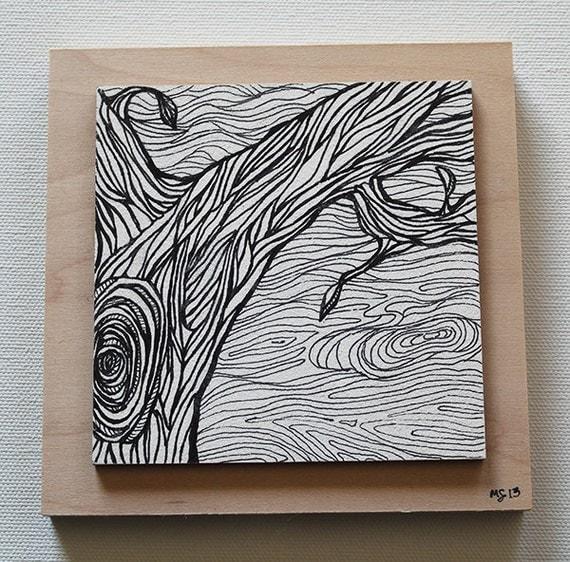 Zen Line Art : Zen tangle tree line art pen and ink illustration atc