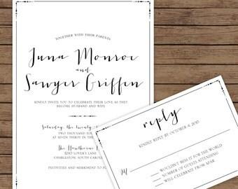 Modern Calligraphy Wedding Invitation,