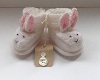 Hand Knitted Bootees hand made baby shower boots baby gift new baby bunny rabbit