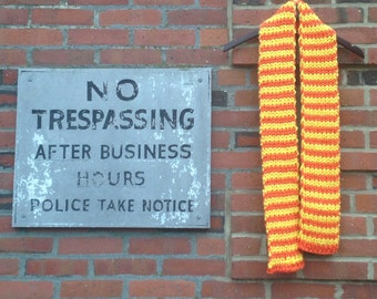 Orange and yellow Rib Knit Scarf, hand knitted