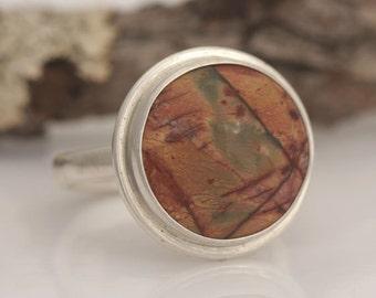 Picasso jasper ring, size 8 1/2, #603.