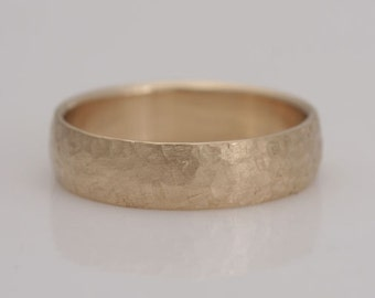 "Men's wedding band, 14k yellow gold band, ""Rough and Refined"", size 12, #645."