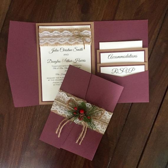 Rustic Vintage Winter Christmas Wedding Invitation Suite