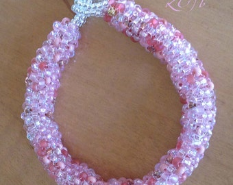 Delicious pink beaded bracelet, tubular peyote, silver beaded toggle clasp, large wrists, 8 1/2 inches long